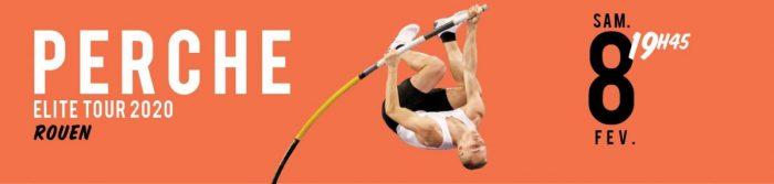affiche orange avec un homme qui saute à la perche et la date de l'événement